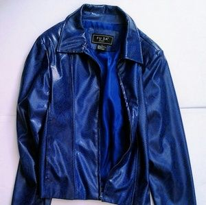 Blue Reptile Print Faux Leather Jacket size Large